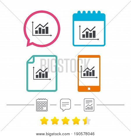 Graph chart sign icon. Diagram symbol. Statistics. Calendar, chat speech bubble and report linear icons. Star vote ranking. Vector