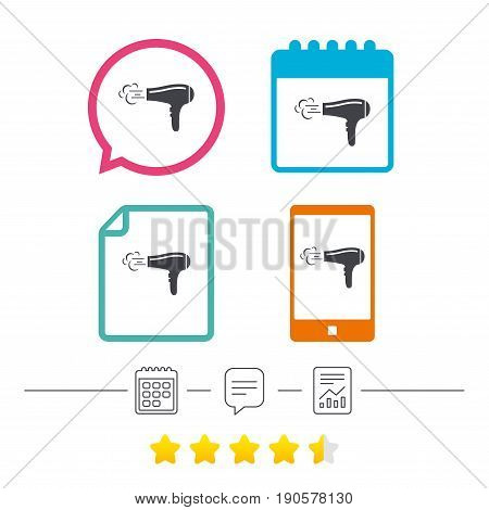 Hairdryer sign icon. Hair drying symbol. Blowing hot air. Turn on. Calendar, chat speech bubble and report linear icons. Star vote ranking. Vector
