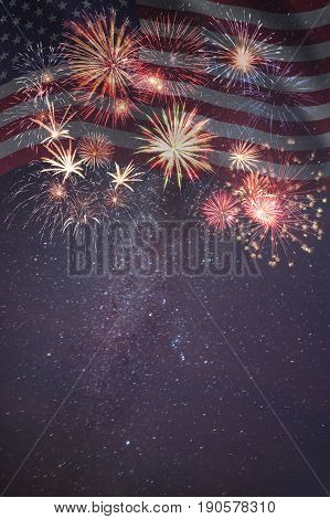 Fireworks And Flag Of America
