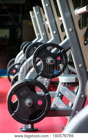 Barbell bench press stands ready to use