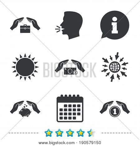 Hands insurance icons. Piggy bank moneybox symbol. Money savings insurance signs. Travel luggage and cash coin symbols. Information, go to web and calendar icons. Sun and loud speak symbol. Vector