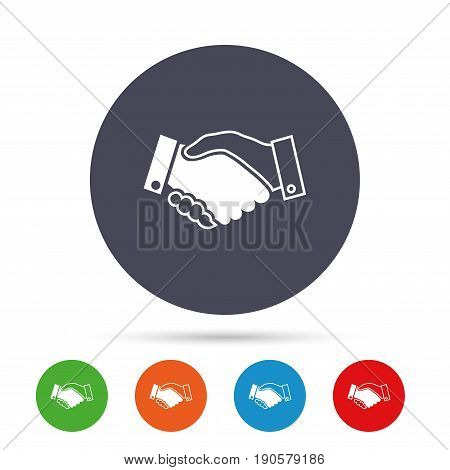 Handshake sign icon. Successful business symbol. Round colourful buttons with flat icons. Vector
