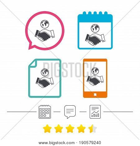 World handshake sign icon. Amicable agreement. Successful business with globe symbol. Calendar, chat speech bubble and report linear icons. Star vote ranking. Vector