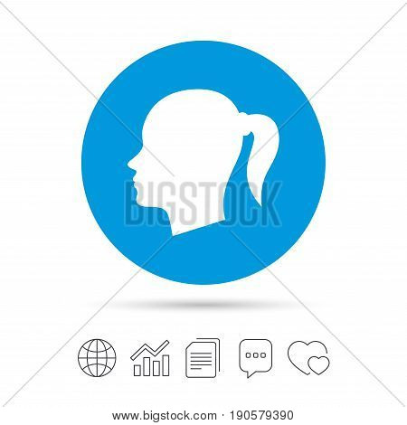 Head sign icon. Female woman human head with pigtail symbol. Copy files, chat speech bubble and chart web icons. Vector