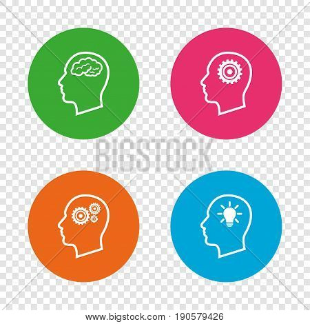Head with brain and idea lamp bulb icons. Male human think symbols. Cogwheel gears signs. Round buttons on transparent background. Vector