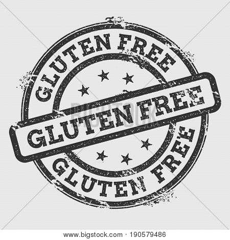 Gluten Free Rubber Stamp Isolated On White Background. Grunge Round Seal With Text, Ink Texture And
