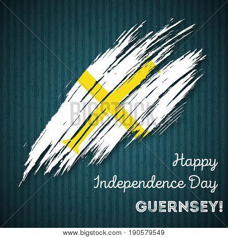 Guernsey Independence Day Patriotic Design. Expressive Brush Stroke In National Flag Colors On Dark