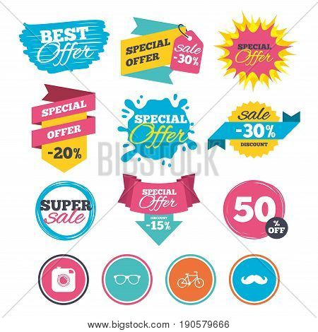 Sale banners, online web shopping. Hipster photo camera with mustache icon. Glasses symbol. Bicycle family vehicle sign. Website badges. Best offer. Vector