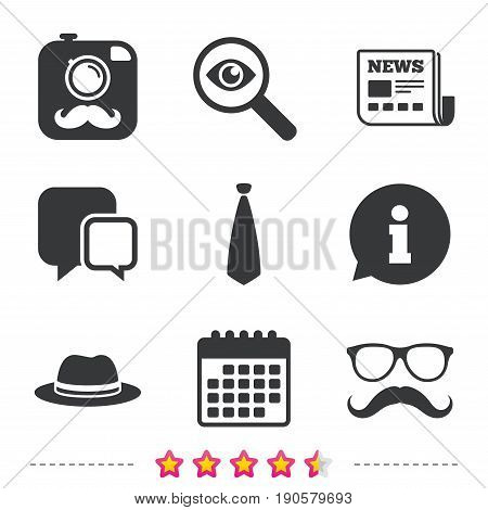 Hipster photo camera with mustache icon. Glasses and tie symbols. Classic hat headdress sign. Newspaper, information and calendar icons. Investigate magnifier, chat symbol. Vector