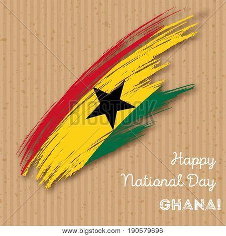 Ghana Independence Day Patriotic Design. Expressive Brush Stroke In National Flag Colors On Kraft Pa