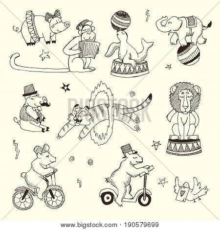 Set of Circus animals, elements isolated on white. Black contour for coloring.