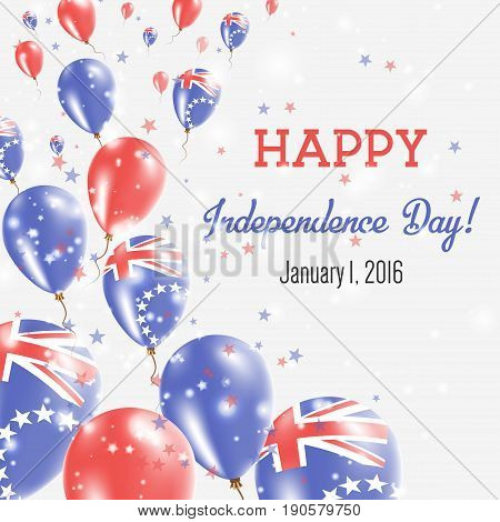 Cook Islands Independence Day Greeting Card. Flying Balloons In Cook Islands National Colors. Happy