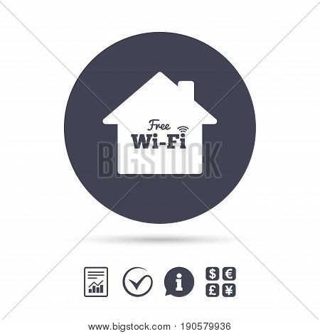 Home wifi sign. Wifi symbol. Wireless Network icon. Wifi zone. Report document, information and check tick icons. Currency exchange. Vector