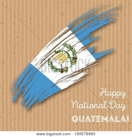 Guatemala Independence Day Patriotic Design. Expressive Brush Stroke In National Flag Colors On Kraf