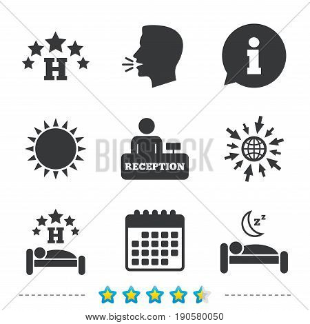 Five stars hotel icons. Travel rest place symbols. Human sleep in bed sign. Hotel check-in registration or reception. Information, go to web and calendar icons. Sun and loud speak symbol. Vector
