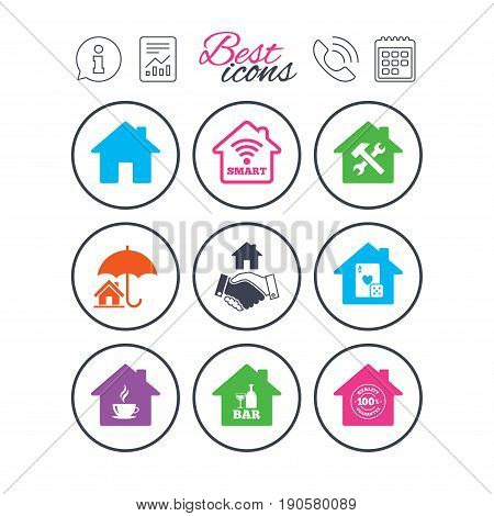 Information, report and calendar signs. Real estate icons. House insurance, broker and casino with bar signs. Handshake deal, coffee and smart house symbols. Phone call symbol. Vector