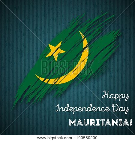 Mauritania Independence Day Patriotic Design. Expressive Brush Stroke In National Flag Colors On Dar