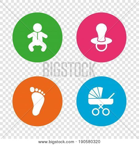 Baby infants icons. Toddler boy with diapers symbol. Buggy and dummy signs. Child pacifier and pram stroller. Child footprint step sign. Round buttons on transparent background. Vector