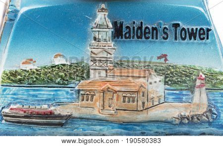 Maiden's Tower of Turkey model painting. Historical building.