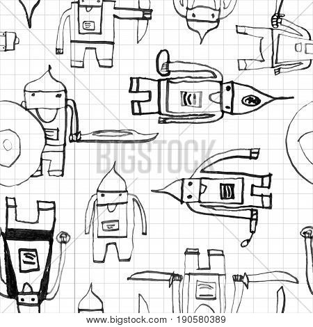 Hero Seamless Pattern. Unique Child's Drawing With School Pen. Cute Hero Hand Drawn With Black Ink O