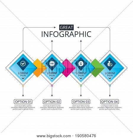 Infographic flowchart template. Business diagram with options. Information icons. Stop prohibition and user blacklist signs. Approved check mark symbol. Timeline steps. Vector