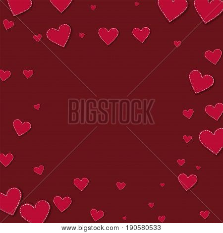 Red Stitched Paper Hearts. Square Scattered Frame On Wine Red Background. Vector Illustration.