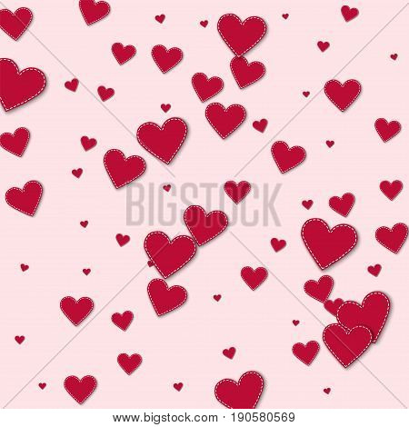 Red Stitched Paper Hearts. Scatter Vertical Lines With Red Stitched Paper Hearts On Light Pink Backg