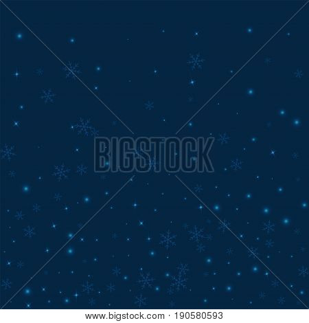 Sparse Glowing Snow. Bottom Gradient On Deep Blue Background. Vector Illustration.