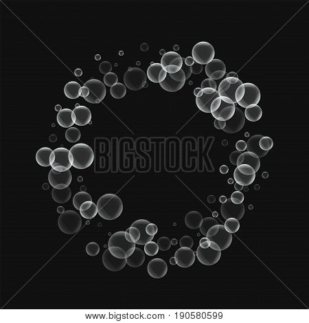 Random Soap Bubbles. Bagel Shape With Random Soap Bubbles On Black Background. Vector Illustration.
