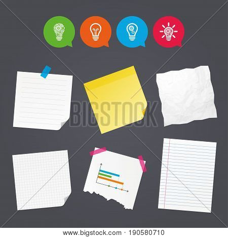 Business paper banners with notes. Light lamp icons. Lamp bulb with cogwheel gear symbols. Idea and success sign. Sticky colorful tape. Speech bubbles with icons. Vector