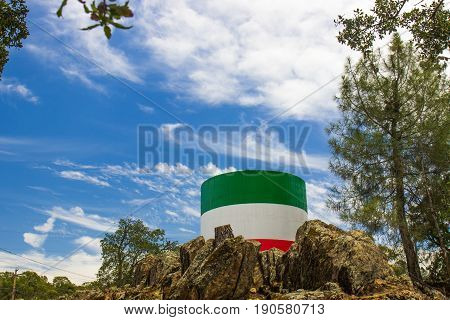 Water Tank Painted Red, White & Green For The Italian Flag Colors