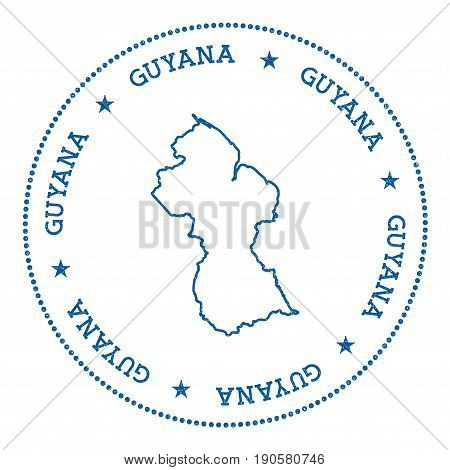Guyana Vector Map Sticker. Hipster And Retro Style Badge With Guyana Map. Minimalistic Insignia With