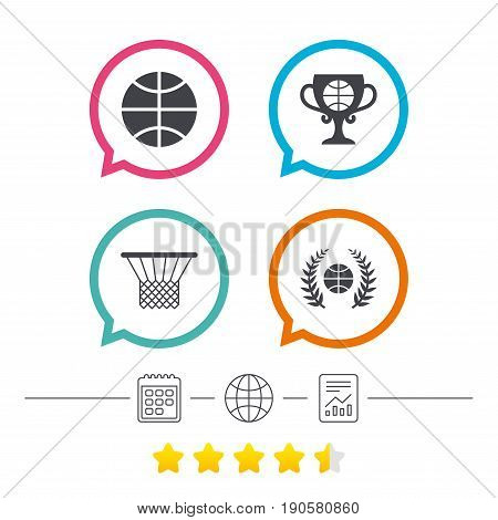 Basketball sport icons. Ball with basket and award cup signs. Laurel wreath symbol. Calendar, internet globe and report linear icons. Star vote ranking. Vector
