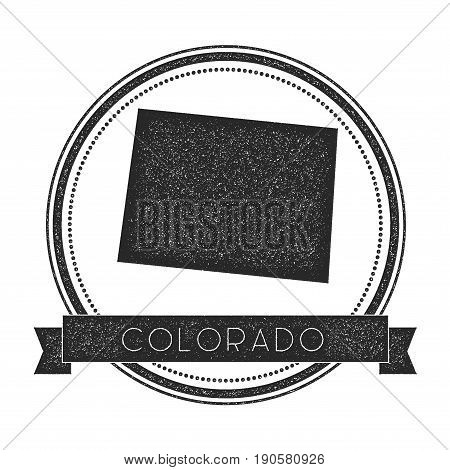 Colorado Vector Map Stamp. Retro Distressed Insignia With Us State Map. Hipster Round Rubber Stamp W