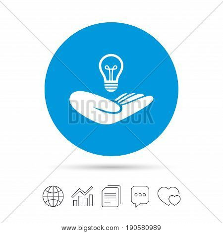 Idea patent insurance sign. Hand holds lamp bulb symbol. Intellectual Property. Copy files, chat speech bubble and chart web icons. Vector