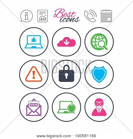 Information, report and calendar signs. Internet privacy icons. Cyber crime signs. Virus, spam e-mail and anonymous user symbols. Phone call symbol. Classic simple flat web icons. Vector