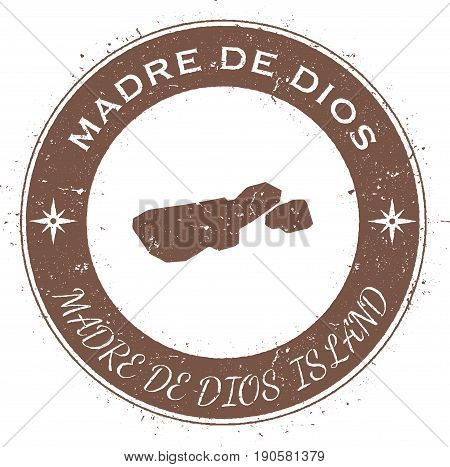 Madre De Dios Island Circular Patriotic Badge. Grunge Rubber Stamp With Island Flag, Map And Name Wr