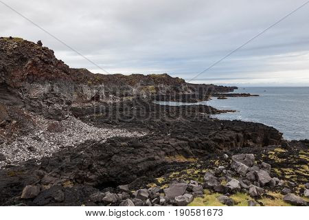 Melancholic Iceland Landscape With Black Volcanic Lava Covered Beach, Grey Rocks And View Over Atlan