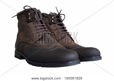 Warmed men's brown boots from nubuck with laces. Isolated white background.
