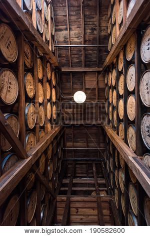 Versailles United States: May 3 2017: Looking Straight Up in Bourbon Warehouse Along Kentucky Bourbon Trail