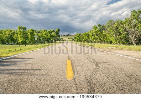 highway in Nebraska Sandhills (Niobrara RIver valley)