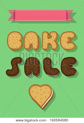 Bake Sale. Text by Sweet Cookies Font. Yellow and Brown Letters and Heart. Pink banner for custom text.