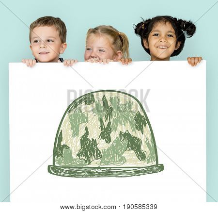Child with a drawing of soldier helmet