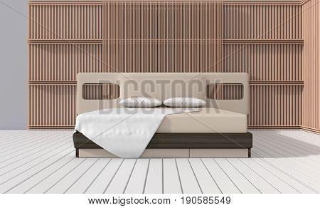 bedroom in soft light colors. decorate with slat wall, white wood  floor, pillow and blanket. Big comfortable  bed in  classic bedroom. 3D render.