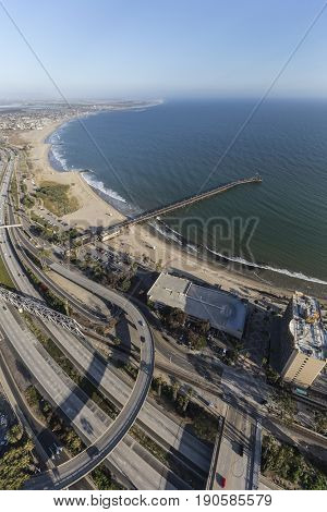 Aerial view of Ventura pier and freeway in Southern California.