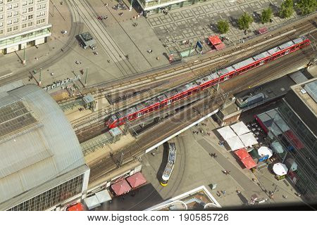 Aerial View Of The S-bahn Tracks Rapid Train And Tram Train At The Alexanderplatz Public Square In B