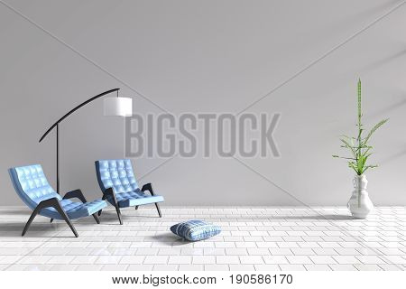 Living room in relax day. Decor with two blue armchair, blue-white pillow, white lamp, tree in vase, grid cement wall and tile floor. The sun shines through the window into the shadows. 3D render.