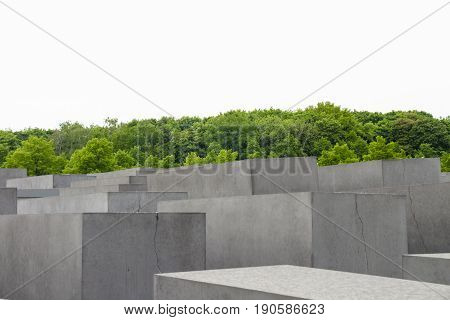 Berlin, Germany - May 16, 2017:  Jewish Holocaust Memorial monument in the city of Berlin