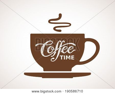 Coffee time. Lettering on cup. Eps8. RGB Global color