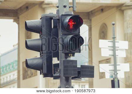 Red East Germany Ampelmann traffic lights in berlin.